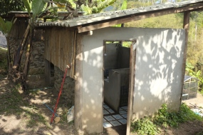 The bathroom with beautiful tiles overlooking the valley. I miss the evening view as you take a refreshing cold shower.