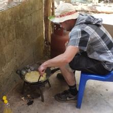 Deep-frying the potato chips