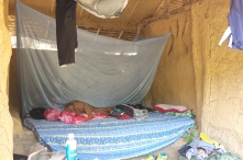 A mosquito net and some thick blankets for the night.
