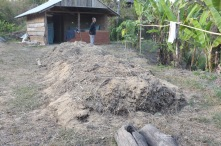Another compost pile that was done a few days ago. It is already very warm when you stick your hand into it.