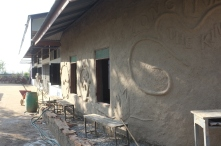 A layer of plastering has already been done over the adobe bricks.