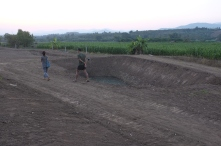 One of two deep ponds for water storage.
