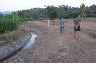 The concrete walled canal is shared between the fields.