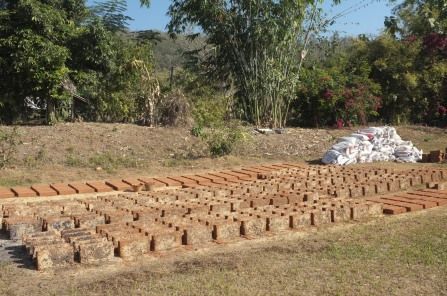 Drying adobe bricks in the sun